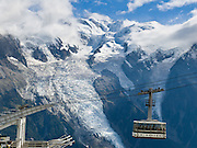 In Chamonix (France, Europe), Le Brevant cable car carries visitors up the Aiguilles Rouges massif for impressive views of Mont Blanc (4808 meters or 15,774 feet), the highest peak in Western Europe. Mont Blanc (Monte Bianco in Italian) was first climbed in 1786 by two men from Chamonix. Chamonix is an important world center for mountaineering.