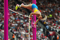 London, 2017 August 06. Angelica Bengtsson, Sweden in the in the women's pole-vault final on day three of the IAAF London 2017 world Championships at the London Stadium. © Paul Davey.