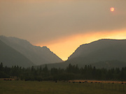 Wildfire smoke over Mountains