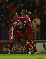 Photo: Andrew Unwin.<br /> Middlesbrough v Fulham. The Barclays Premiership.<br /> 20/11/2005.<br /> Middlesbrough's Gareth Southgate (L) congratulates James Morrison (R) on scoring his team's first goal.