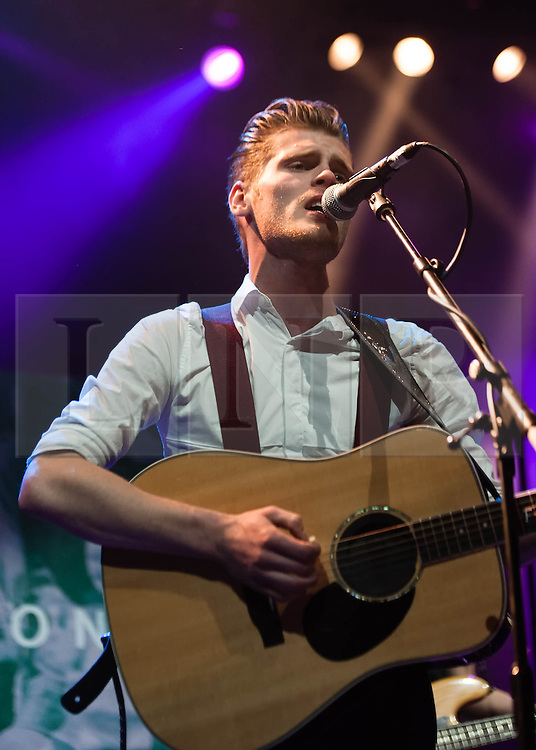 © Licensed to London News Pictures. 12/11/2013. London, UK.   Hudson Taylor performing live at The Forum, supporting headliner Kodaline. In this pic - Alfie Hudson-Taylor.  Hudson Taylor (previously Harry & Alfie) are an Irish folk pop duo formed in 2011. The duo consists of brothers Alfie and Harry.   Photo credit : Richard Isaac/LNP