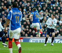 Photo: Gareth Davies.<br />Portsmouth v Everton. The Barclays Premiership. 09/12/2006.<br />Portsmouth's Matt Taylor (14) scores from long range to make it 1-0 against Everton.