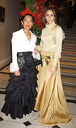 Left to right, LADY BARCLAY wife of Sir Frederick Barclay and MRS PHILIP RENAUD at a gala evening preview and dinner of the new exhibition Aztecs at The Royal Academy of Art, Burlington House, Piccadilly, London on 11th November 2002.