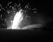 """Fireworks In The Park.  (R79)..1988..09.05.1988..05.09.1988..9th May 1988..As part of the """"Dublins' Great In 88"""" millennium celebrations a fireworks display was held in the 15 acres area of the Phoenix Park tonight. the event was sponsored by the EEC Office,Dublin...Image shows the fireworks exploding in the air above the Phoenix Park in what was a stunning display."""