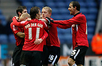 Photo: Steve Bond/Richard Lane Photography. Leicester City v Swansea City. FA Cup Third Round. 02/01/2010. David Cotterill is congratulated