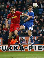 Photo: Steve Bond/Richard Lane Photography. <br />Leicester City v Colchester United. Coca Cola Championship. 12/04/2008. Steve Howard (R) beats Matt Heath (L) in the air