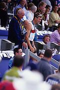 Sydney, AUSTRALIA, left, Harald JAHRLING and bronze medalist Marcel HACKER,  2000 Olympic Regatta, West Lakes Penrith. NSW.  [Mandatory Credit. Peter Spurrier/Intersport Images] Sydney International Regatta Centre (SIRC) 2000 Olympic Rowing Regatta00085138.tif