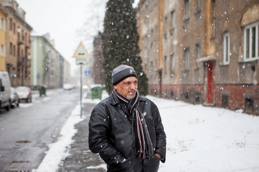 Portrait of volunteer and Roma activist Miroslav Klempar during walking his dog. Mr. Klempar lived with his family for 13 years in the UK and is now back and working in his home town Ostrava with the Roma community.