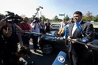 """19 AUG 2009, BERLIN/GERMANY:<br /> Sigmar Gabriel, SPD, Bundesumweltminister, praesentiert Elektro-Minis von BMW anl. der Verabschiedung des """"Nationalen Entwicklungsplans Elektromobilitaet"""" durch das B undesk abinett, Paul-Loebe-Allee / Willy-Brandt-Str.<br /> IMAGE: 20090819-01-013<br /> KEYWORDS: BMW Mini Elektroantrieb, Auto, Wagen, Mikrofon, microphone, Kamera, camera, Journalisten, Statement"""