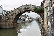 The Xinmin stone bridge along Shantang canal in Suzhou, China.
