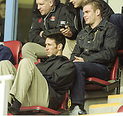 Reading. England. UK. All Black Lock, Ian JONES, sitting watching the game<br />  <br /> Premiership Rugby. London Irish vs Gloucester Rugby. 16.04.2001. Madejski Stadium. <br /> <br /> [Mandatory Credit, Peter Spurrier/ Intersport Images].