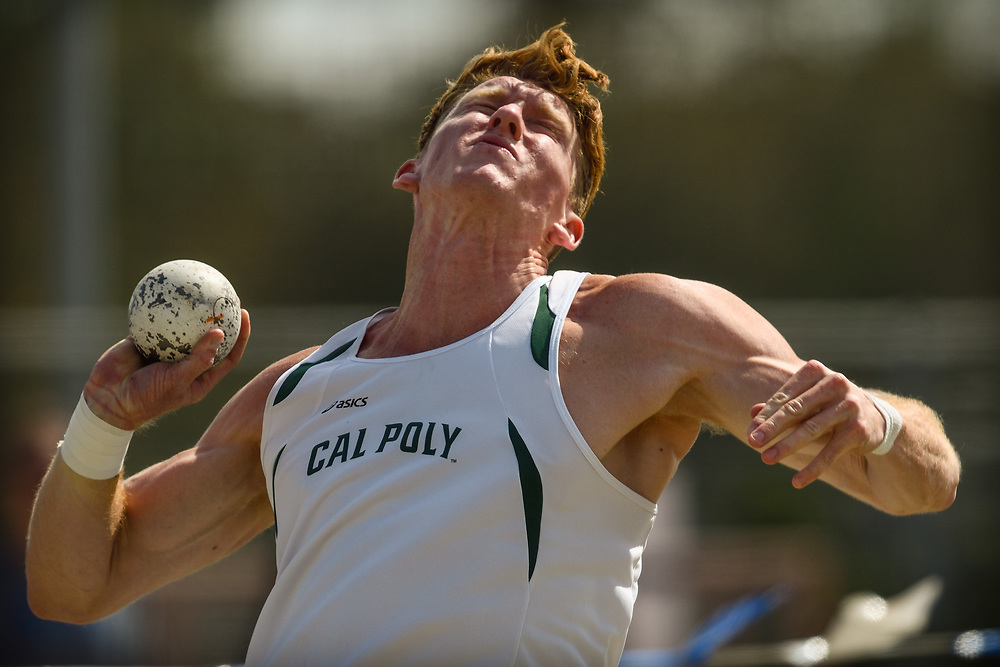 Cal Poly Pomona Senior Teddy Scranton makes his first attempt in the shotput on his way to winning the #decathlon at the 2017 Big West Conference Multi-Events Championships.