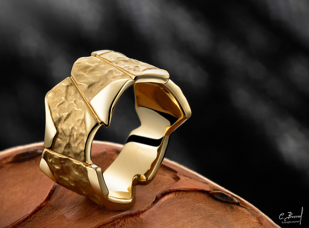 Hand made, forged gold ring