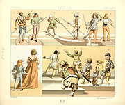 Ancient Italian fashion and lifestyle, 15th century from Geschichte des kostums in chronologischer entwicklung (History of the costume in chronological development) by Racinet, A. (Auguste), 1825-1893. and Rosenberg, Adolf, 1850-1906, Volume 3 printed in Berlin in 1888