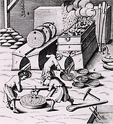 Smelting copper. From a 1683 English edition of Lazarus Ercker 'Beschreibung allerfurnemisten mineralischen Ertzt- und Berckwercksarten' originally published in Prague in 1574. Copperplate engraving.