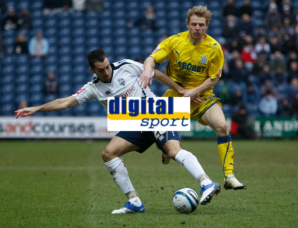 Photo: Steve Bond/Richard Lane Photography. Preston North End v Cardiff City. Coca Cola Championship. 27/02/2010. Tom Williams (L) defends in front of Chris Burke