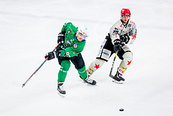 Luka Ulamec of HK SZ Olimpija and Luka Basic of HDD Jesenice during Ice Hockey match between HK SZ Olimpija Ljubljana and HDD Jesenice in Round #24 of Alps Hockey League, on December 22, 2018 in Hala Tivoli, Ljubljana, Slovenia. Photo by Ziga Zupan / Sportida