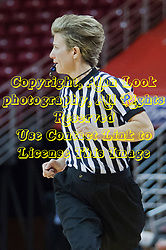 03 January 2014:  Referee Laura Morris watches the action while running the court during an NCAA women's basketball game between the Drake Bulldogs and the Illinois Sate Redbirds at Redbird Arena in Normal IL