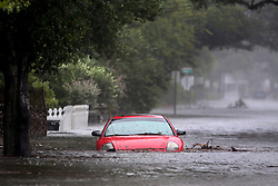 October 8, 2016 - St. Augustine, Florida, U.S. - A car is flooded on a street in downtown St. Augustine where flooding continues from Hurricane Matthew.  (Credit Image: © Douglas R. Clifford/Tampa Bay Times via ZUMA Wire)