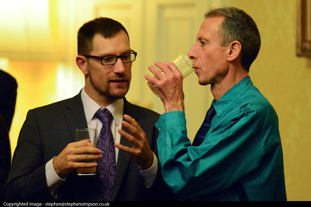 © Licensed to London News Pictures. 11/09/2013. London, UK Human rights campaigner Peter Tatchell (drinking from glass) The Deputy Prime Minister, Nick Clegg, hosts a reception at Admiralty House in Whitehall this evening, 11 September 2013, to celebrate the government's progress in equal marriage. From next year gay people will be able to get married. A number of high profile guests including openly supportive celebrities, campaigners, religious figures and charities were in attendance.<br /> The London Gay Men Chorus Ensemble performed at the event. . Photo credit : Stephen Simpson/LNP