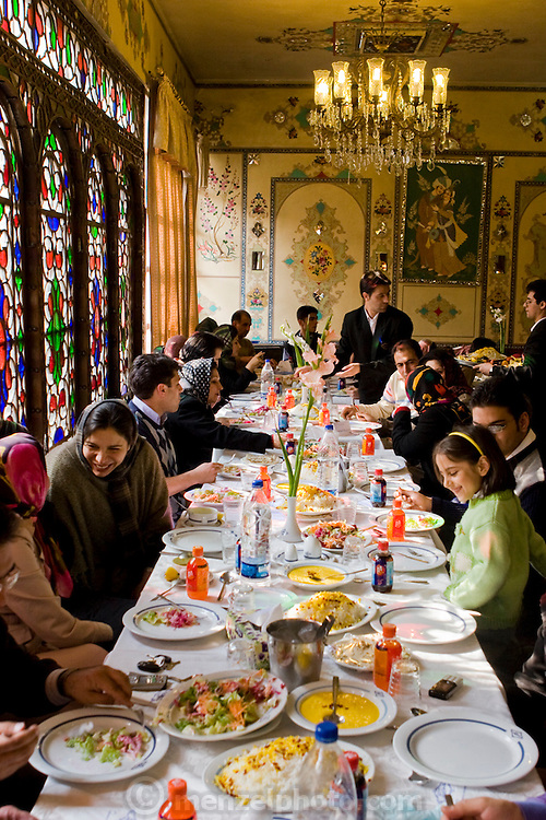 Diners at table at the Shahzad Restaurant in Isfahan, Iran.