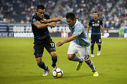 August 9, 2017 - Kansas City, Kansas, United States - Kansas City, KS - Wednesday August 9, 2017: Darwin Ceren, Roger Espinoza during a Lamar Hunt U.S. Open Cup Semifinal match between Sporting Kansas City and the San Jose Earthquakes at Children's Mercy Park. (Credit Image: © Amy Kontras/ISIPhotos via ZUMA Wire)
