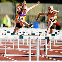 26 August 2012; Chloe Whelan, left, from Bree and Davidstown, Co. Wexford, and Cliodhna Blake, from Doonbeg, Co. Clare, competing  in the Girl's U-14 80m Hurdles Semi-Finals. Community Games National Finals Weekend, Athlone, Co. Westmeath. Picture credit: David Maher / SPORTSFILE
