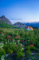 Camping in the high elevation backcountry of Mt. Timpanogos in Utah's Wasatch Mountains.