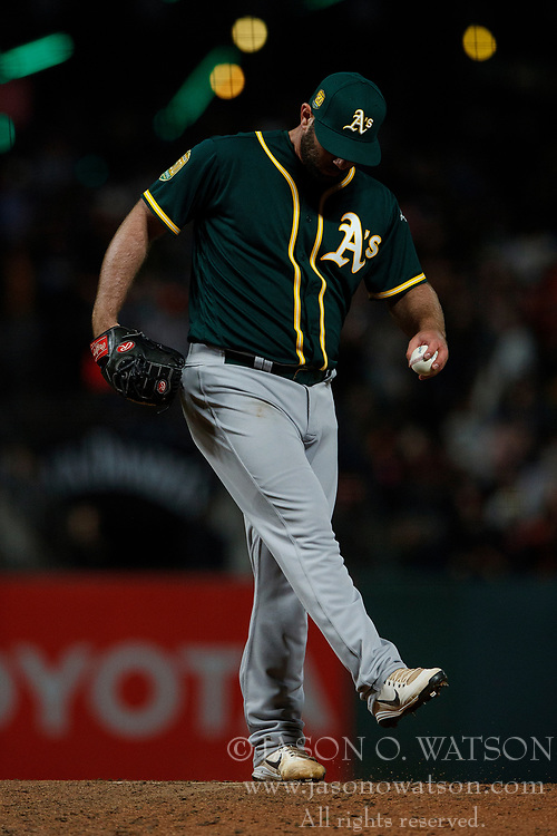SAN FRANCISCO, CA - JULY 13: Jeremy Bleich #56 of the Oakland Athletics stands on the pitchers mound against the San Francisco Giants during the seventh inning at AT&T Park on July 13, 2018 in San Francisco, California. The San Francisco Giants defeated the Oakland Athletics 7-1. (Photo by Jason O. Watson/Getty Images) *** Local Caption *** Jeremy Bleich