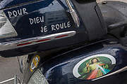 Detail of a French Harley-Davidson motorbike belonging to a bike club with the words Pour Dieu Je Roule I ride for God in the Slovenian capital, Ljubljana, on 28th June 2018, in Ljubljana, Slovenia.