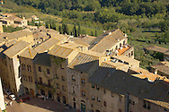 Arial View of San Gimignano - Tuscany - Chainti Italy .<br /> <br /> Visit our ITALY PHOTO COLLECTION for more   photos of Italy to download or buy as prints https://funkystock.photoshelter.com/gallery-collection/2b-Pictures-Images-of-Italy-Photos-of-Italian-Historic-Landmark-Sites/C0000qxA2zGFjd_k<br /> If you prefer to buy from our ALAMY PHOTO LIBRARY  Collection visit : https://www.alamy.com/portfolio/paul-williams-funkystock/sangimignano.html
