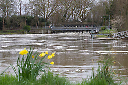 Water thunders through a weir at Weybridge in West London as heavy rains in the River Thames catchment area and saturated ground cause the river to rise to within inches of bursting its banks.. April 02 2018.