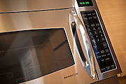 Stainless Steel Microwave Close Up Detail Stock Photo