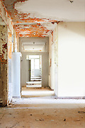old destroyed building, room with corridor