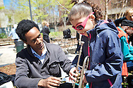 """20160430, Saturday, April 30, 2016, Boston, MA, USA; Brigham and Women's Hospital Lung Center and JazzBoston hosted their first """"Good Music = Good Health Jazz Fair"""" in the outdoor Levinson Plaza along Huntington Avenue in Mission Hill Saturday.<br /> <br /> Background: Brigham and Women's Hospital (BWH) Lung Center and JazzBoston celebrated their partnership in music and medicine to improve lung health based on the breathing and blowing techniques of jazz wind instrumentalists and vocalists at a unique event at Roxbury Tenants of Harvard in Mission Hill, the first of the partnership's Good Music = Good Health Jazz Fairs. Some of Boston's most talented jazz artists were on hand to inspire the community and draw visitors into collective music-making. An instrument petting zoo, a variety of horns to blow, and contests with prizes provided fun for all ages. <br /> <br /> ( lightchaser photography © 2016 )"""