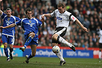 Photo: Pete Lorence.<br />Derby County v Cardiff City. Coca Cola Championship. 17/03/2007.<br />Steve Howard fires the ball into the back of the net, taking Derby to 3-1.