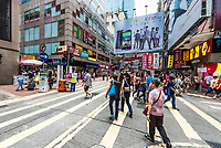 kowloon, hong kong - june 9, 2014: people shopping at ladies market mong kok