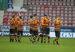 Alloa Athletic's players at the end. Dunfermline 2 v 2 Alloa Athletic. Alloa win on penalties. Irn Bru cup game played 13/10/2018 at Dunfermline's home ground, East End Park.