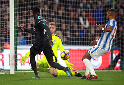 Chelsea's Tiemoue Bakayoko scores his sides first goal during the Premier League match at the John Smith's Stadium, Huddersfield.