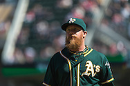 Sean Doolittle #62 of the Oakland Athletics during a game against the Minnesota Twins on April 9, 2014 at Target Field in Minneapolis, Minnesota.  The Athletics defeated the Twins 7 to 4.  Photo by Ben Krause