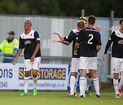 Falkirk's Phil Roberts with as Jay Fulton celebrates after scoring their second goal.<br /> Falkirk 2 v 1 Dunfermline, Scottish League Cup, 27/8/2013, at The Falkirk Stadium.<br /> ©Michael Schofield.