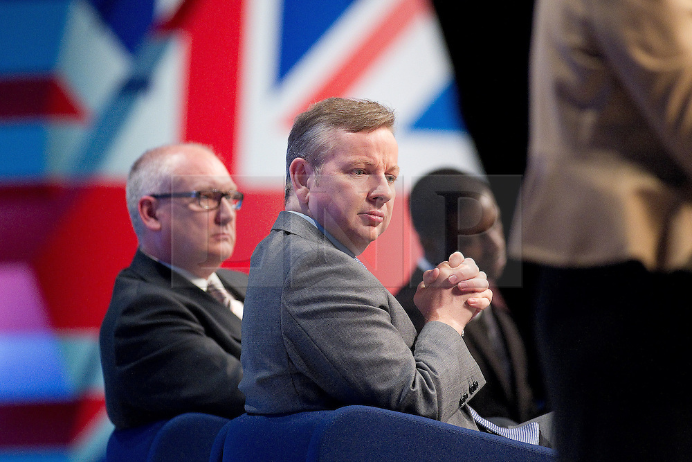 © Licensed to London News Pictures. 04/10/2011. Manchester, UK. Education Secretary, Michael Gove, listens as a member of the Schools panel speaks at the Conservative Party Conference in Manchester. Photo credit : Joel Goodman/LNP
