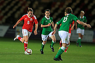 Rachel Rowe of Wales (8) makes a break.Friendly International Womens football, Wales Women v Republic of Ireland Women at Rodney Parade in Newport, South Wales on Friday 19th August 2016.<br /> pic by Andrew Orchard, Andrew Orchard sports photography.