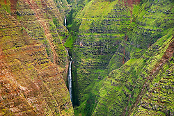 """Mohihi Falls, 360 feet or 110 meters high in total, Waimea Canyon, the """"Grand Canyon of the Pacific"""", approximately one mile wide and ten miles long, more than 3,500 feet deep, State Park, Kauai, Hawaii"""