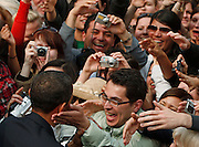 U.S. President Barack Obama greets supporters after speaking  in Hradcany Square in Prague, April 5, 2009.  REUTERS/Jim Young
