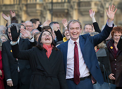 © Licensed to London News Pictures. 05/12/2016. London, UK. Newly elected Lib Dem MP for Richmond Park Sarah Olney stands with party leader Tim Farron, MP's, Lords and supporters near Parliament. Photo credit: Peter Macdiarmid/LNP