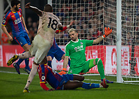 Football - 2018 / 2019 Premier League - Crystal Palace vs. Manchester United<br /> <br /> Ashley Young (Manchester United) fires padt the despairing Crystal Palace defence to score his teams third goal at Selhurst Park.<br /> <br /> COLORSPORT/DANIEL BEARHAM