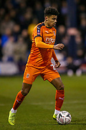 Luton Town defender James Justin (2) on the ball during the The FA Cup 3rd round replay match between Luton Town and Sheffield Wednesday at Kenilworth Road, Luton, England on 15 January 2019.