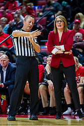NORMAL, IL - February 07: Mark Berger explains a situation to Andrea Gorski who doesn't seem interested in the visual explanation during a college women's basketball game between the ISU Redbirds and the Braves of Bradley University February 07 2020 at Redbird Arena in Normal, IL. (Photo by Alan Look)