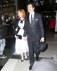 Katie Holmes and Christina Hendricks at the Brooks Brother event in New York. 25 Apr 2018 Pictured: Christina Hendricks, Geoffrey Arend. Photo credit: MEGA TheMegaAgency.com +1 888 505 6342